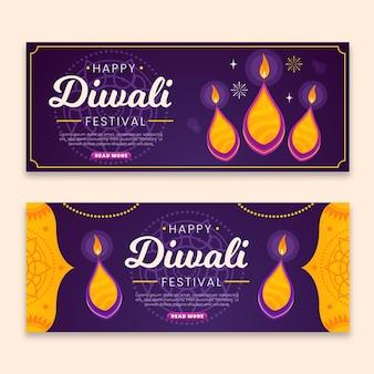 Diwali-banners met vlam
