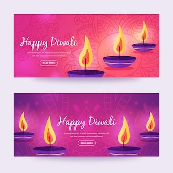 Diwali banners sjabloonontwerp met kaarsen
