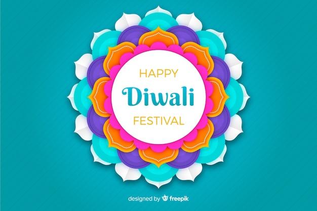 Diwali blauwe achtergrond in papierstijl
