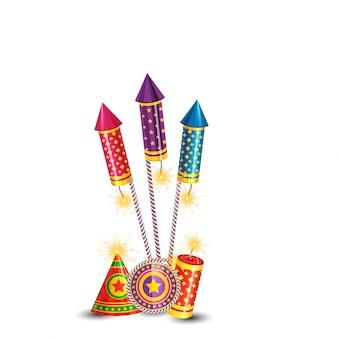 Diwali brandende crackers achtergrond