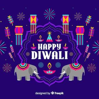 Diwali-concept met vlakke ontwerpachtergrond