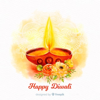 Diwali-concept met waterverfachtergrond