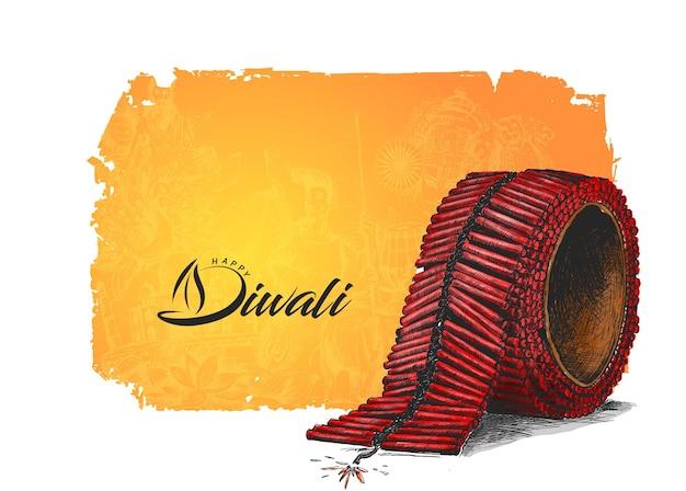 Diwali crackers, hand getrokken schets vectorillustratie.