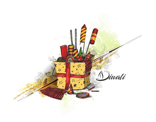 Diwali crackers met geschenkdoos, hand getrokken schets vectorillustratie.