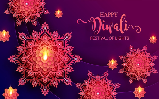 Diwali, deepavali of dipavali het festival van lichten india met gouden diya patroon en kristallen op papier kleur achtergrond.