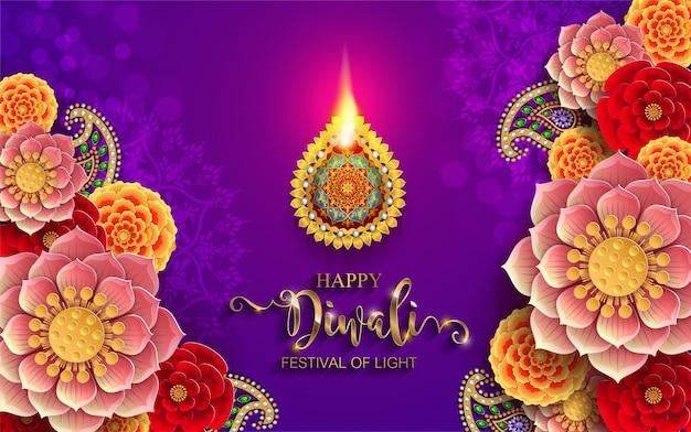 Diwali, deepavali of dipavali het festival van lichten india met gouden gevormde diya en kristallen op papier