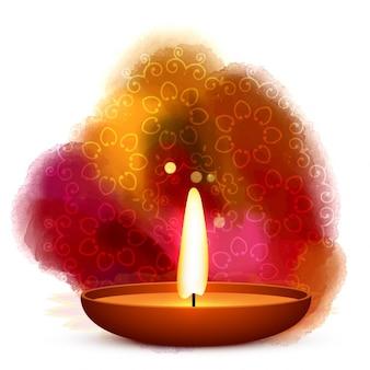 Diwali diya geplaatst in het water achtergrond kleur vector
