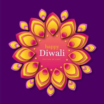 Diwali-evenement in papieren stijl