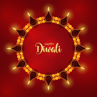 Diwali festival achtergrond. hindoe feestelijke moderne wenskaart. indiase rangoli-kunstconcept. deepavali of diwali-lichtfestival.