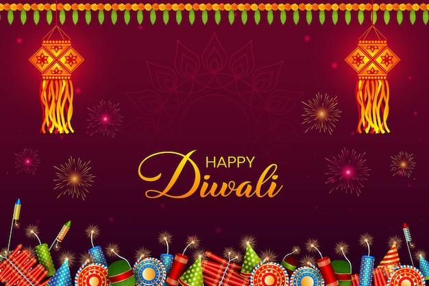 Diwali festival achtergrond. hindoe feestelijke wenskaart. lantaarn, crackers, slingers. deepavali of diwali-lichtfestival. fijne indiase vakantie.