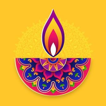 Diwali festival achtergrond. indisch rangoli-kunstconceptenfestival van lichten.
