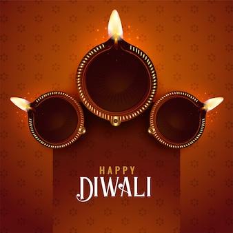 Diwali festival diya achtergrond ontwerpsjabloon