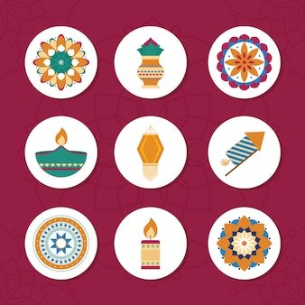 Diwali festival icon set