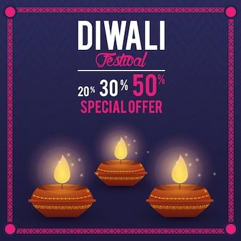 Diwali festival indian aanbieding bannerontwerp