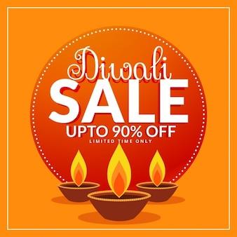 Diwali festival korting en verkoop poster sjabloon met drie diya