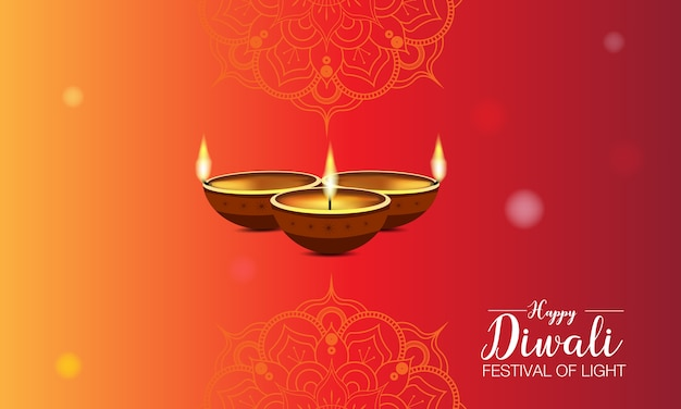 Diwali festival sjabloon met mandala