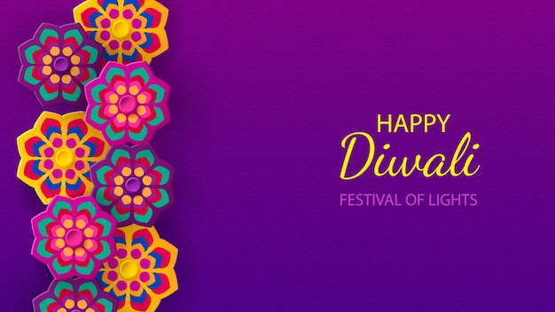Diwali festival vakantie ontwerp met papier gesneden stijl van indiase rangoli en bloemen.