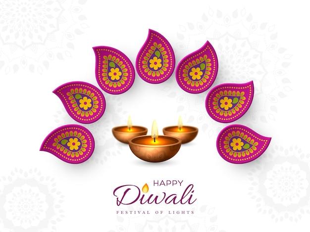 Diwali festival vakantie ontwerp met papier gesneden stijl van indiase rangoli en diya - olielamp. paarse kleur op witte achtergrond, vectorillustratie.