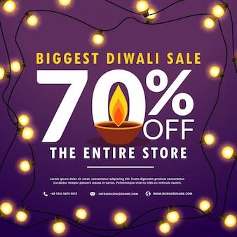 Diwali festival verkoop korting en aanbiedingen banner met gloeilampen decoratie en diya
