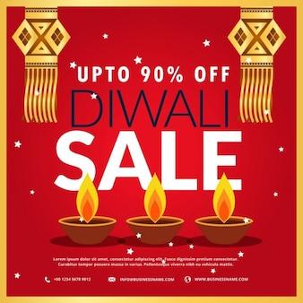 Diwali festival verkoop poster met drie diya en opknoping lamp in rode achtergrond