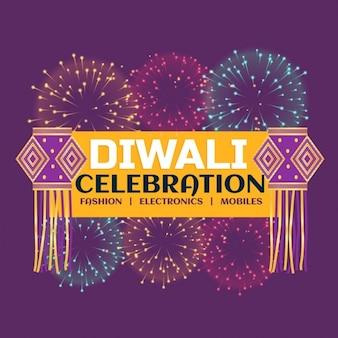 Diwali festival viering banner met vuurwerk en opknoping lampen op paarse achtergrond