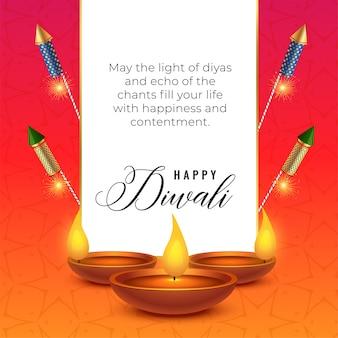 Diwali-festival wenst achtergrond met diya en crackers