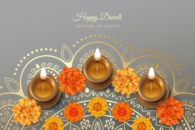 Diwali-festivalkaart met diya-lamp en goudsbloembloemen
