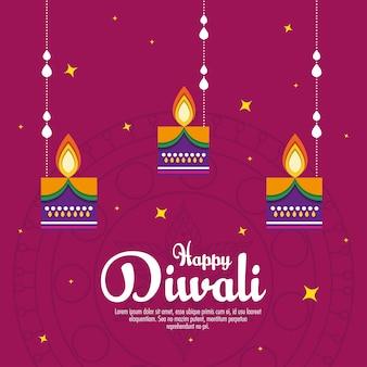 Diwali festivalvakantie met hangende kaarsen.
