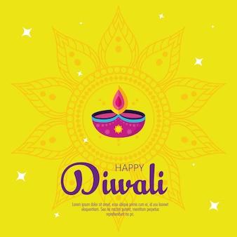 Diwali festivalvakantie met kaarsdecoratie en mandala op gele achtergrond.