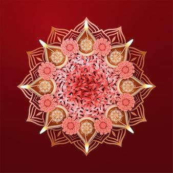 Diwali-festivalvakantieontwerp met indiaas rangoli-mandalapatroon