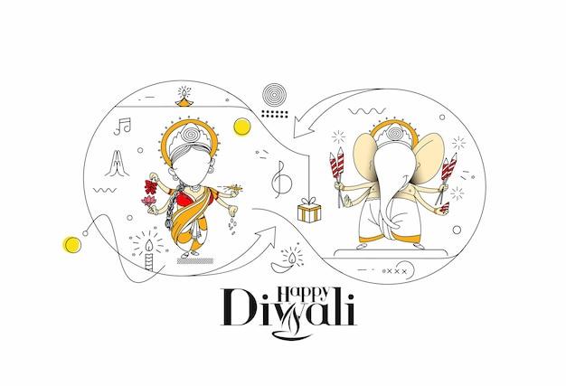 Diwali hindoe festival wenskaart, hand getrokken lijn kunst vectorillustratie.