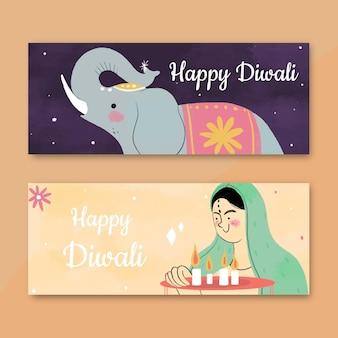 Diwali horizontale banners met olifant