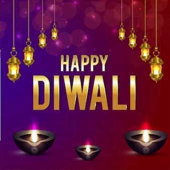 Diwali indian festival viering wenskaart met hangende lamp en diya
