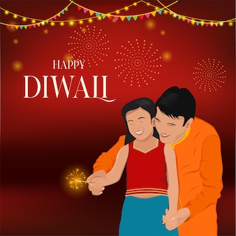 Diwali indiase vader-dochter met vuurkrakers
