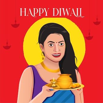 Diwali indiase vrouwen met pooja thali-groet