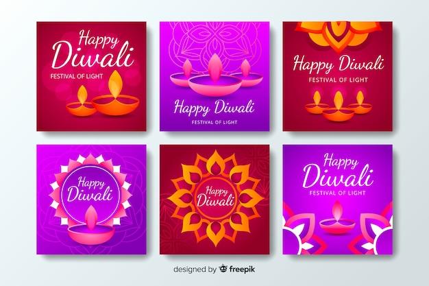 Diwali instagram in violette tinten na verzameling