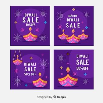 Diwali instagram nacht paarse tinten post collectie