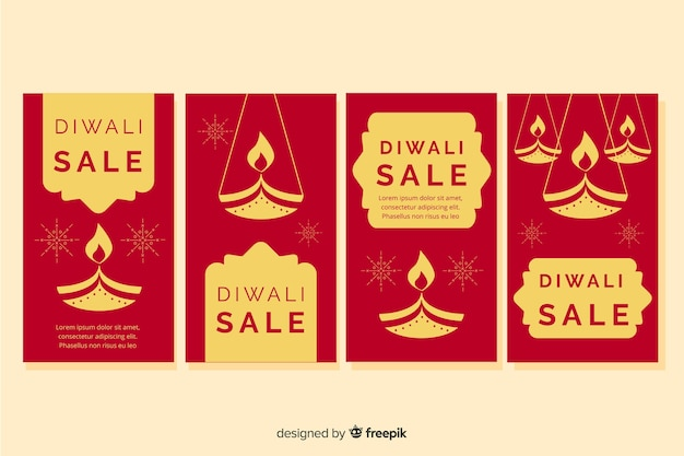 Diwali instagramverhalen in geel en rood