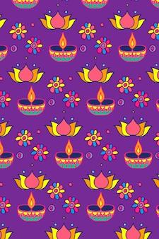 Diwali kaars festival patroon vector achtergrond