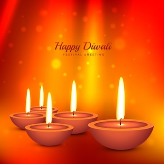 Diwali kaart met bokeh oranje achtergrond