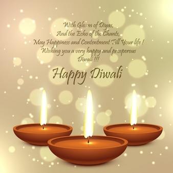 Diwali kaart met gouden bokeh achtergrond