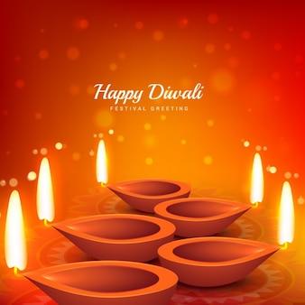 Diwali kaart met oranje achtergrond