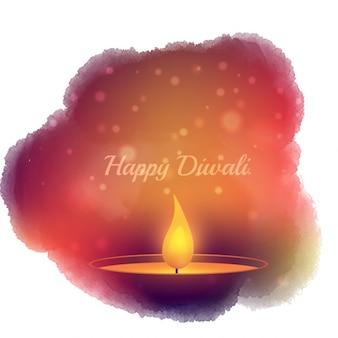 Diwali kaart met waterverf vlek