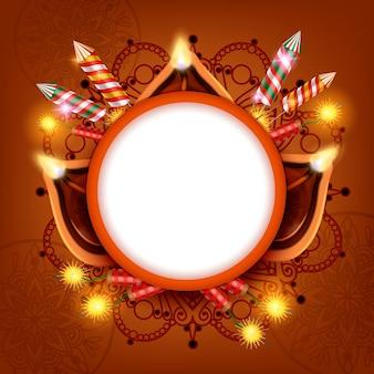 Diwali-lantaarns realistisch frame met feestelijke lichten, kaarsen en ornamenten