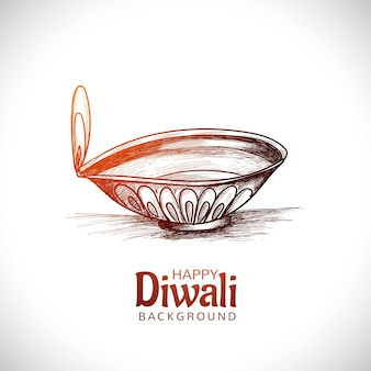 Diwali olielamp festival hand loting schets kaart ontwerp