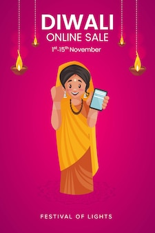 Diwali online sale flyer en poster met vrouw met mobiele telefoon
