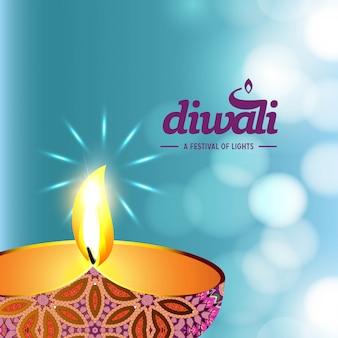 Diwali ontwerpt blauwe achtergrond en typografievector