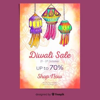 Diwali-poster in aquarelstijl
