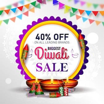 Diwali-postsjabloon met creatieve olielamp en vuurwerkcrackersillustratie