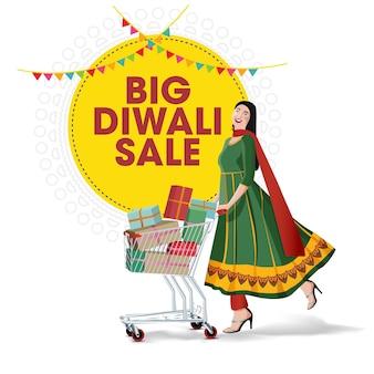 Diwali sale aanbieding banner indiase vrouwen